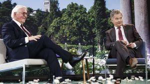 Sauli niinistö och Frank-Walter Steinmeier under diskussion.