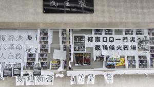 Inte heller vid Hongkongs äldsta universitet finns det många tecken på att en stor del av studerandena är engagerade i protesterna. En anspråkslös så kallad demokrativägg har uppförts på en av huvudbyggnaderna.