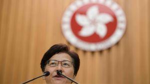 Hongkongs regeringschef Carrie Lam höll en presskonferens på tisdagen där hon avvisade rapporter om att hon egentligen vill avgå från sin post.