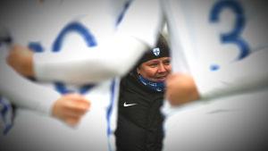 Marianne Miettinen ler efter Finlands match mot Tjeckien i kvalet till U19-EM.