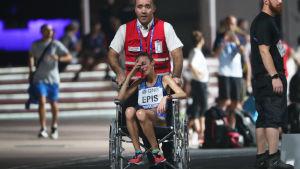 Maratonlöparen i rullstol.