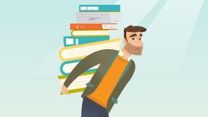 Stiliserad bild över man med böcker på ryggen.