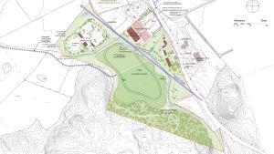 Illustration över hur Jontas idrottspark planerats.