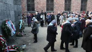 Förintelseöverlevare vid minnesceremoni 75 år efter att Auschwitz befriades.
