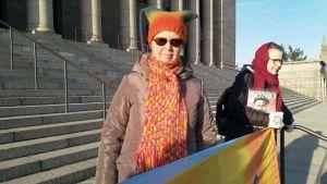 Birgitta Andersén demonstrerar varje fredag på riksdagshusets trappa mot klimatförändringen.
