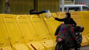 En kvinna köper bananer från andra sidan av en barrikad som avskärmar bostadsområden i Wuhan. Gula eller blåa skärmar längs gatorna visar hur splittrat livet i staden är