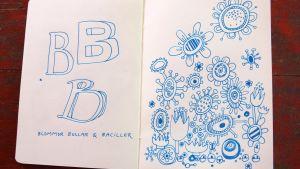 Teckning av blommor och bollar.