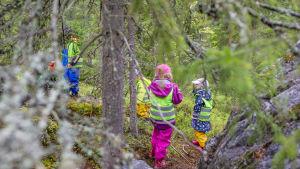 tre barn i skogen.