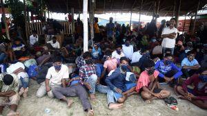 Rohingyer som flytt i båtar från Myanmar till Aceh, Indonesien. 7.9.2020