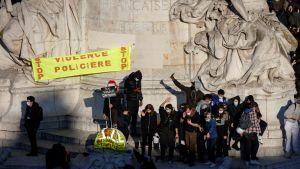 Demonstration på Place de la Republique i mot polisbrutalitet. 28.11.2020