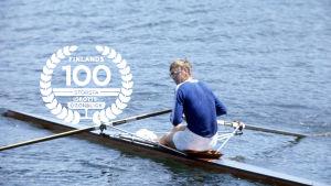 Pertti Karppinen, OS 1976, med logo för Finlands 100 största idrottsögonblick.