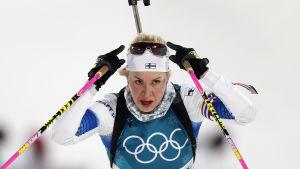 Laura Toivanen i elden vid OS i Pyeongchang.