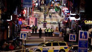 Drottninggatan i Stockholm efter terrorattacken den 7 april 2017.