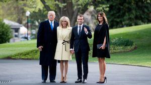 Donald Trump, Brigitte Macron, Emmanuel Macron och Melania Trump