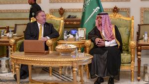 USA:s utrikesminister Mike Pompeo och Saudiarabiens dito Adel al-Jubeir möts i Riyadh, Saudiarabien.