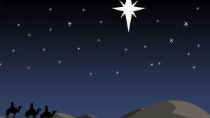 Tähti johdattaa kolmea itämaan tietäjää
