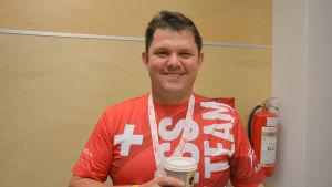 Martin Eberle är med i Schweiz agilitylandslag som tävlar i agility-VM i Åbo.