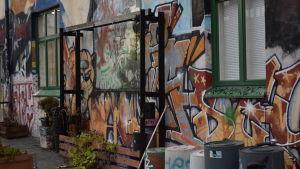 Kulttuuritalo Anniksen sisäpihan graffiteja.