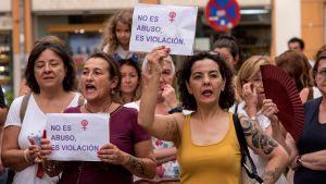 Protester mot könsrelaterat våld. Demonstration i  i Palma de Mallorca 8.7.2019
