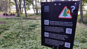 En skylt som varnar för skogsbrand.