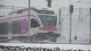VR juna Helsingissä. 9.2.2021.