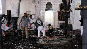 Tiotals döda efter självmordsattack mot moskén al-Hashoosh i Sanaa, Jemen 20.3.2015