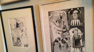 En Tolkien-teckning av Tove Jansson hänger här.