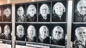 Fotografierna på utställningen Viimeiseen mieheen, till siste man på Riksdagsbiblioteket.