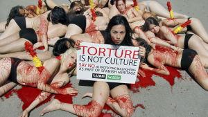 Aktivister försvarar förbudet mot tjurfäktning. Protest mot definitionen på kulturarv.