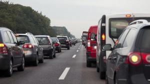 Trafikstockning på tysk motorväg.