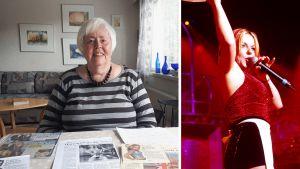 kollage av två bilder. På den ena en leende äldre kvinna som sitter vid ett bord täckt av tidningsurklipp. På den andra en rädhårig kvinna som sjunger i en mikrofon.