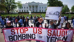 Arkivbild från april 2017 på en demonstration utanför Vita huset mot kriget i Jemen.