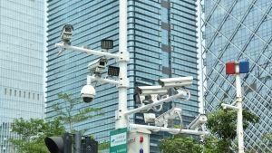Ansiktsigenkännings- och säkerhetskameror i Shenzhen, Kina.