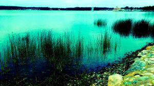 Fotografi av strand och vatten och restaurang Knipan i bakgrunden. Färgerna går i turkos.