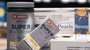 erilaisia d-vitamiinituotteita.