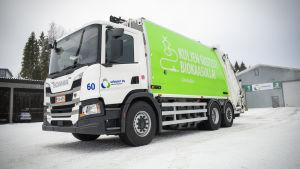 Jätekukon kaasukäyttöinen roska-auto