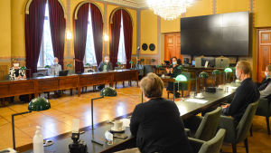 Diskussionstillfället i fullmäktigesalen.