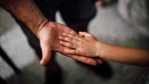 Ett barn håller sin hand på en vuxens.