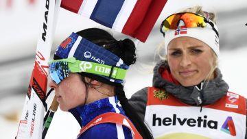 Krista Pärmäkoski och Therese Johaug efter sprinten i Quebec på fredag.