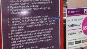 parkeringsskylt i Citymarket i Borgå