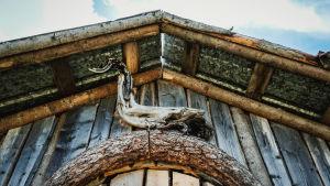 Oksista tehty koriste mökin oven yläpuolella.