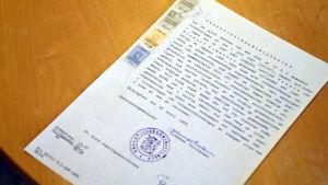Tillstånd från 1968 att Höjdens skola i Tenala får inleda sin verksamhet.