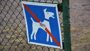 En skylt som anger att det är förbjudet för hundar att vistas på området.
