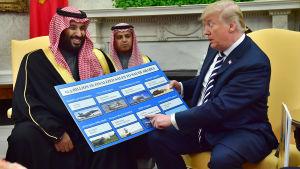 Muhammad bin Salman och Donald Trump i Vita huset.