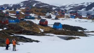 Två personer står på skidor. Blickar ut över en liten by i Grönland. Husen är blåa och röda.