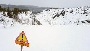Varning för snöskred i Kulmakuru i Saariselkä.