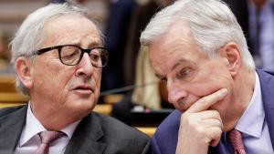 EU-kommissionens ordförande Jean-Claude Juncker och EU-förhandlaren Michel Barnier.