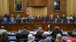 Representanthusets justitieutskott samlat i pampig sal med brun väggpanel, flaggor och tavlor på väggarna.