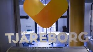 Tjäreborgs logga vid det servicekontor som stängdes i februari.