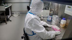 Laborant analyserar sampel på laboratorium.
